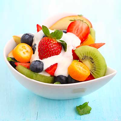 strawberry fruit salad with sour cream